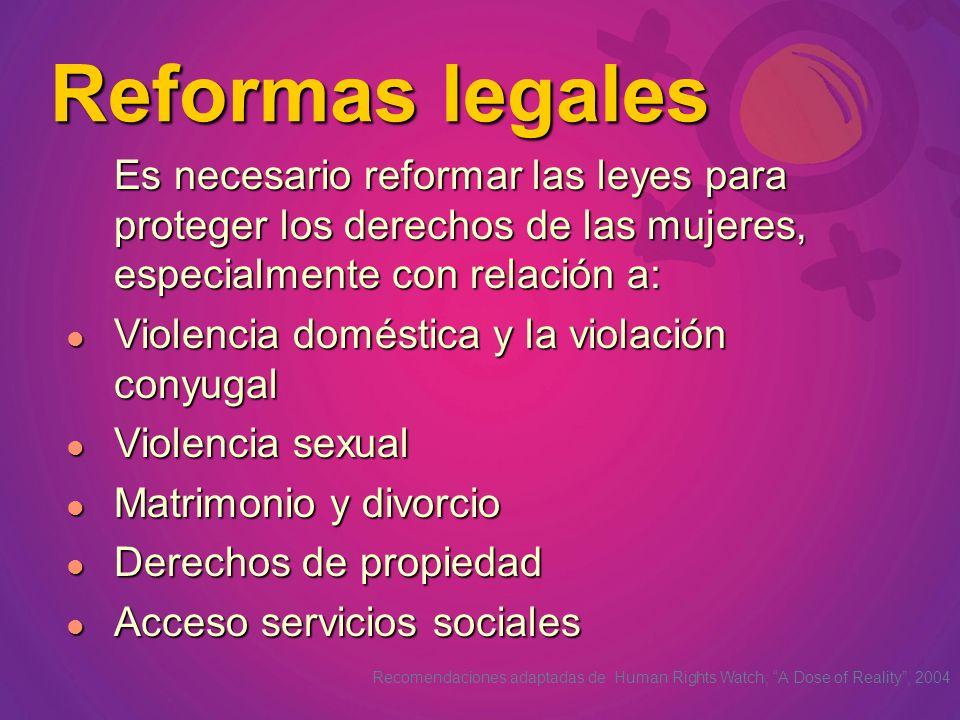 Reformas legales Es necesario reformar las leyes para proteger los derechos de las mujeres, especialmente con relación a: