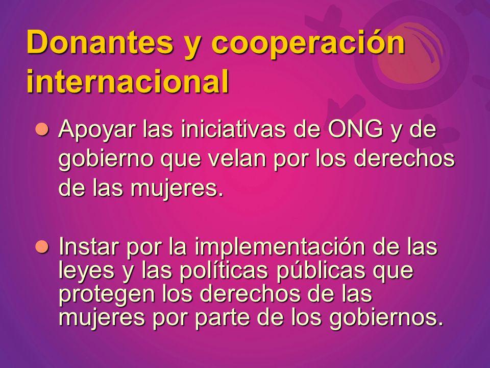 Donantes y cooperación internacional