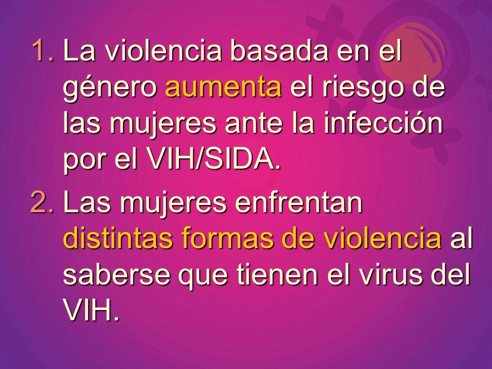 La violencia basada en el género aumenta el riesgo de las mujeres ante la infección por el VIH/SIDA.