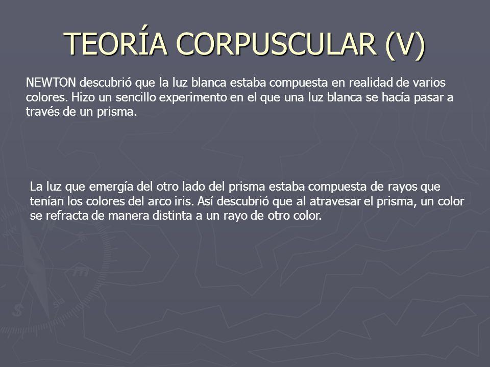 TEORÍA CORPUSCULAR (V)
