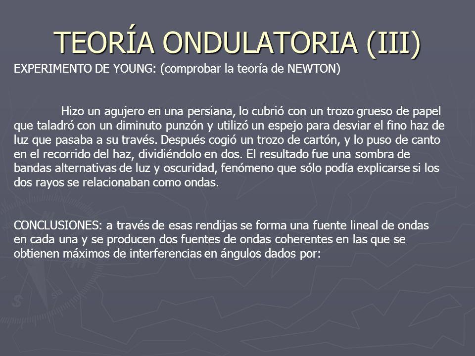TEORÍA ONDULATORIA (III)