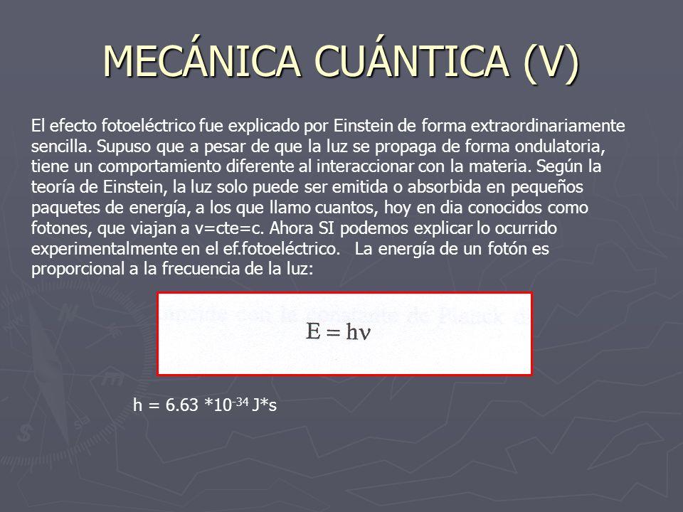 MECÁNICA CUÁNTICA (V)