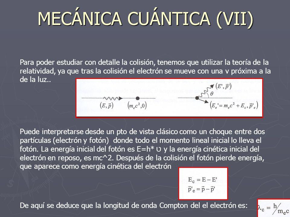 MECÁNICA CUÁNTICA (VII)