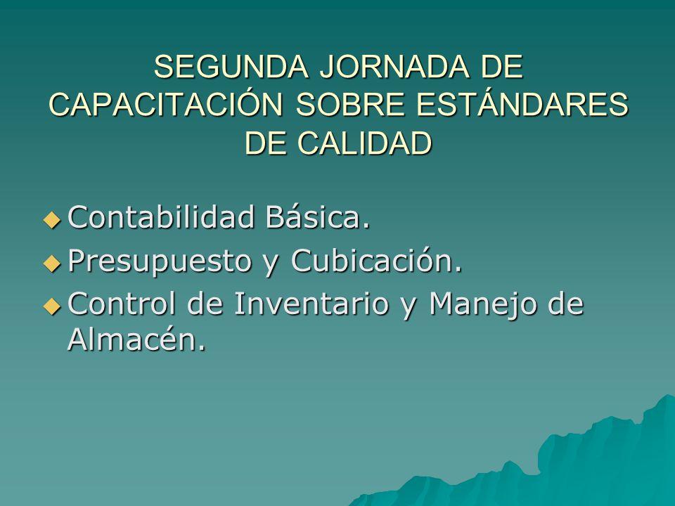 SEGUNDA JORNADA DE CAPACITACIÓN SOBRE ESTÁNDARES DE CALIDAD