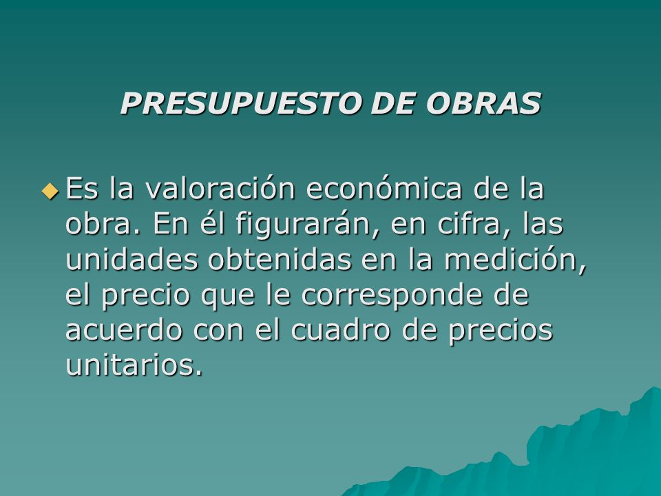 PRESUPUESTO DE OBRAS