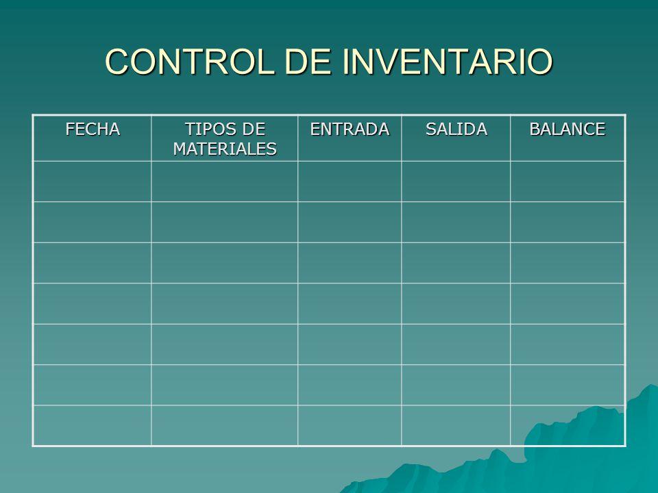 CONTROL DE INVENTARIO FECHA TIPOS DE MATERIALES ENTRADA SALIDA BALANCE