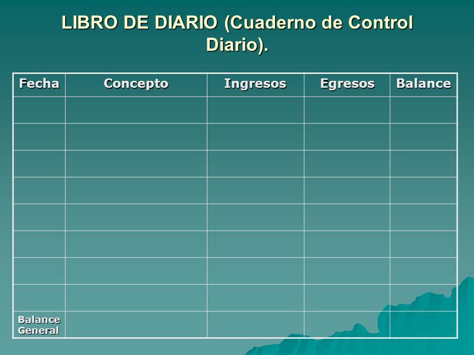 LIBRO DE DIARIO (Cuaderno de Control Diario).