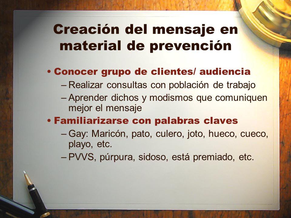 Creación del mensaje en material de prevención