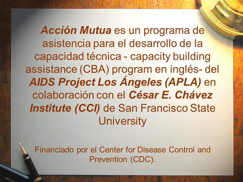 Financiado por el Center for Disease Control and Prevention (CDC).