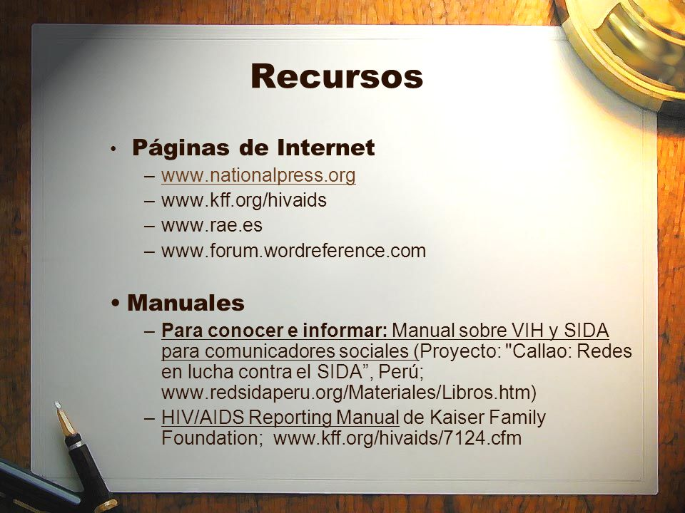 Recursos Manuales Páginas de Internet www.nationalpress.org