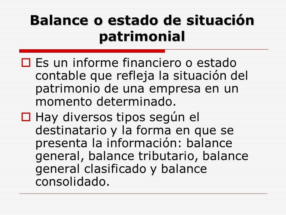 Balance o estado de situación patrimonial