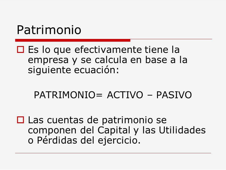 PATRIMONIO= ACTIVO – PASIVO
