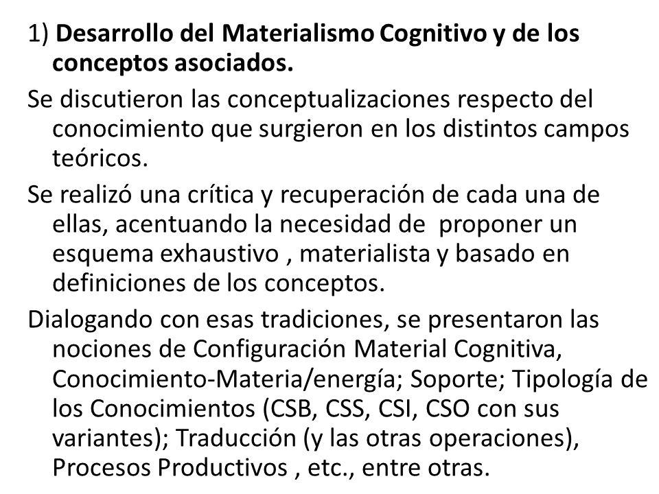 1) Desarrollo del Materialismo Cognitivo y de los conceptos asociados