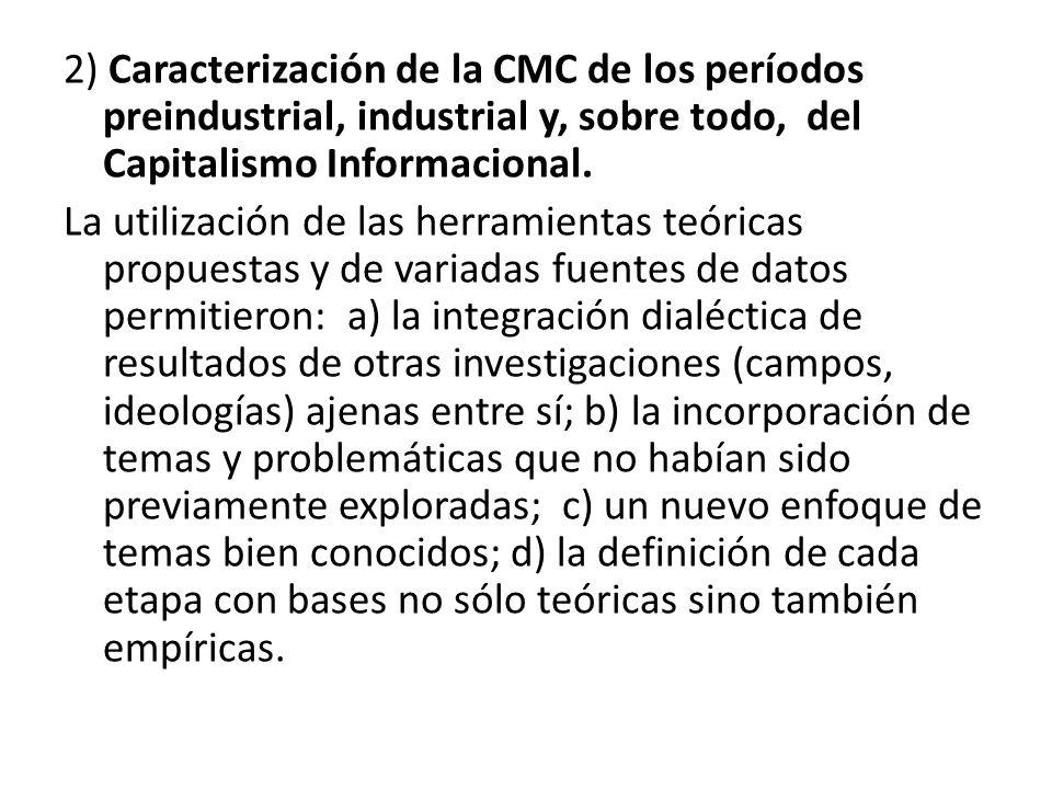 2) Caracterización de la CMC de los períodos preindustrial, industrial y, sobre todo, del Capitalismo Informacional.