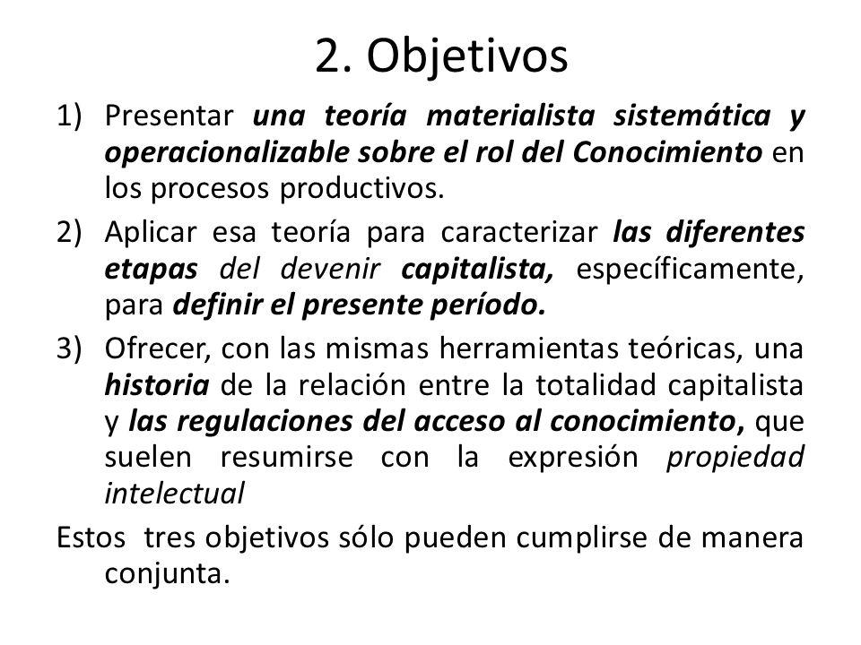 2. Objetivos Presentar una teoría materialista sistemática y operacionalizable sobre el rol del Conocimiento en los procesos productivos.