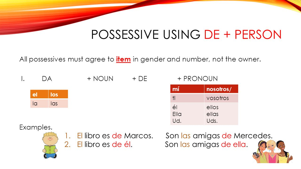 Possessive using De + Person