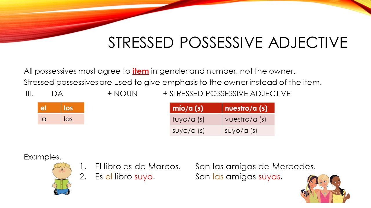 Stressed possessive adjective