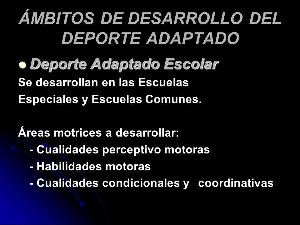 ÁMBITOS DE DESARROLLO DEL DEPORTE ADAPTADO