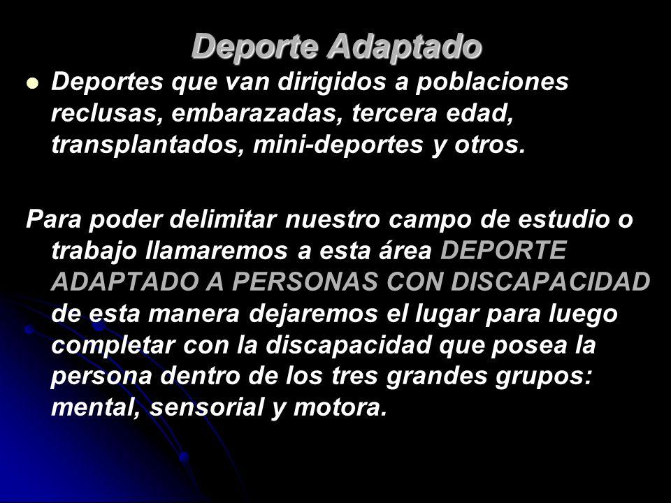 Deporte AdaptadoDeportes que van dirigidos a poblaciones reclusas, embarazadas, tercera edad, transplantados, mini-deportes y otros.