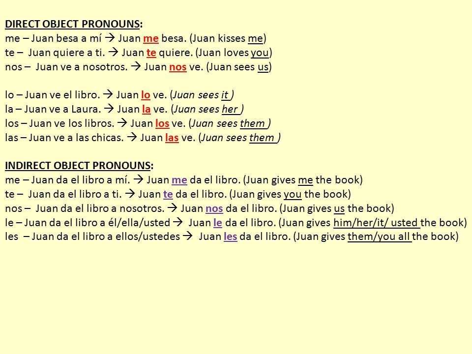 DIRECT OBJECT PRONOUNS: