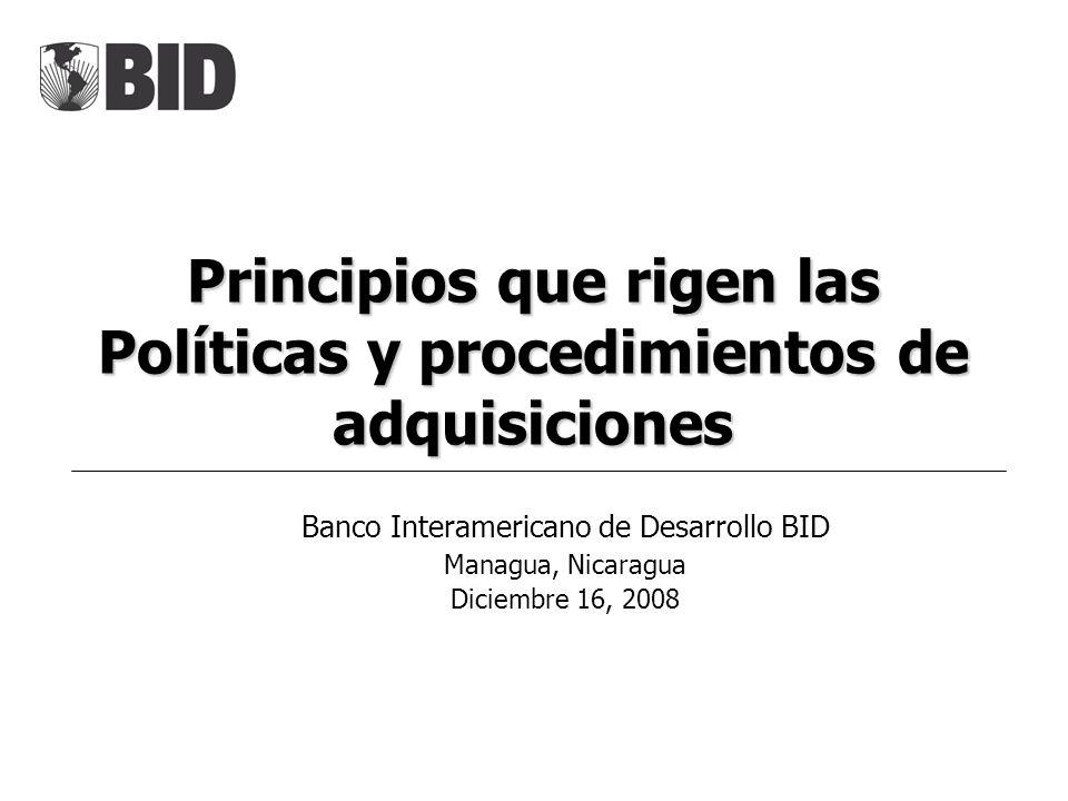 Principios que rigen las Políticas y procedimientos de adquisiciones