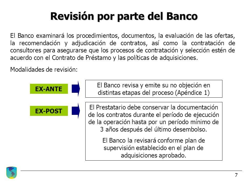 Revisión por parte del Banco
