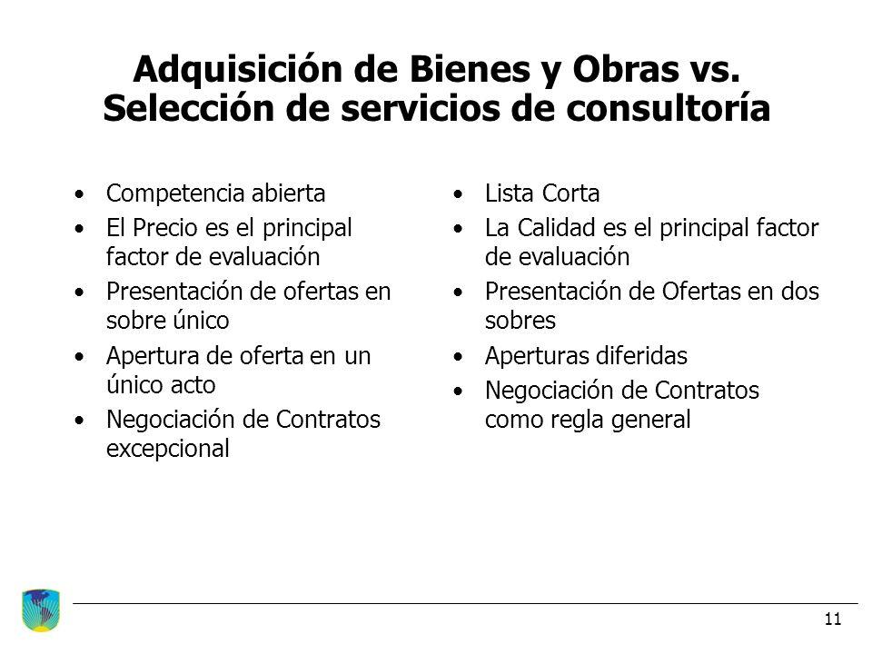 Adquisición de Bienes y Obras vs. Selección de servicios de consultoría