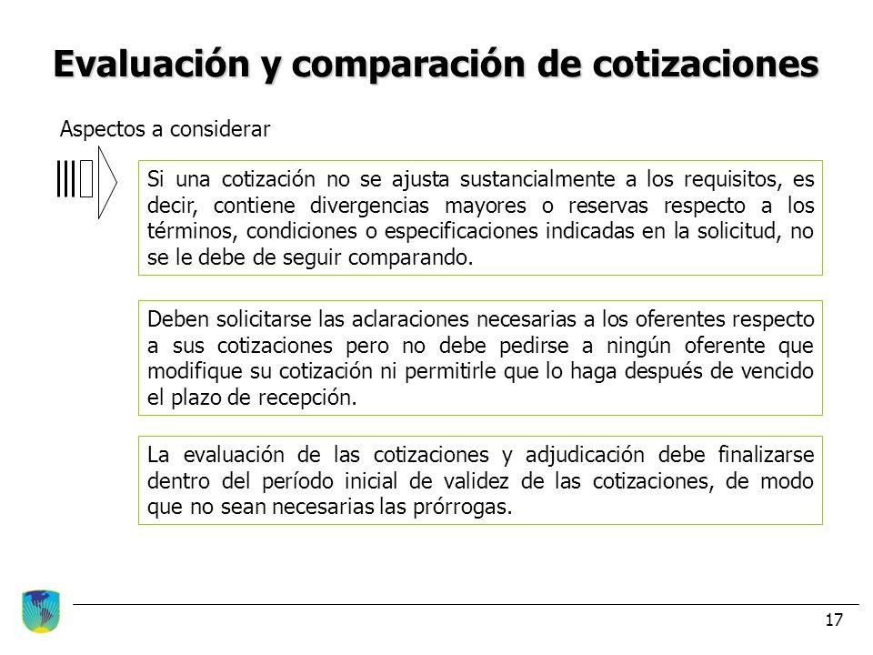 Evaluación y comparación de cotizaciones