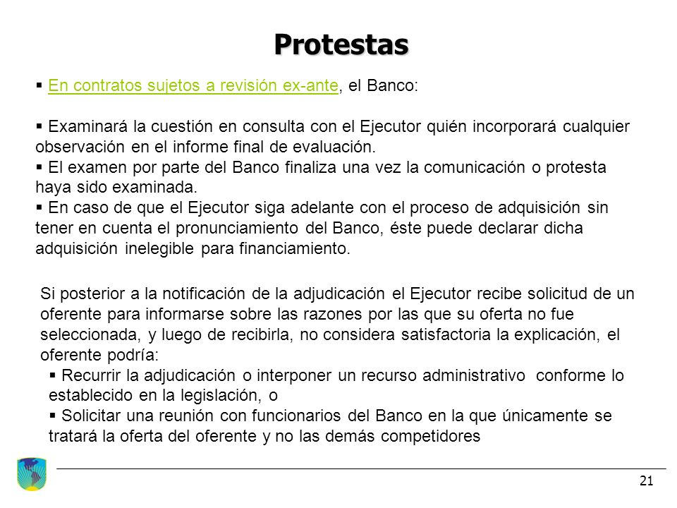 Protestas En contratos sujetos a revisión ex-ante, el Banco: