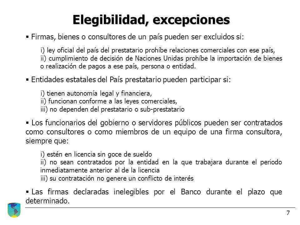 Elegibilidad, excepciones
