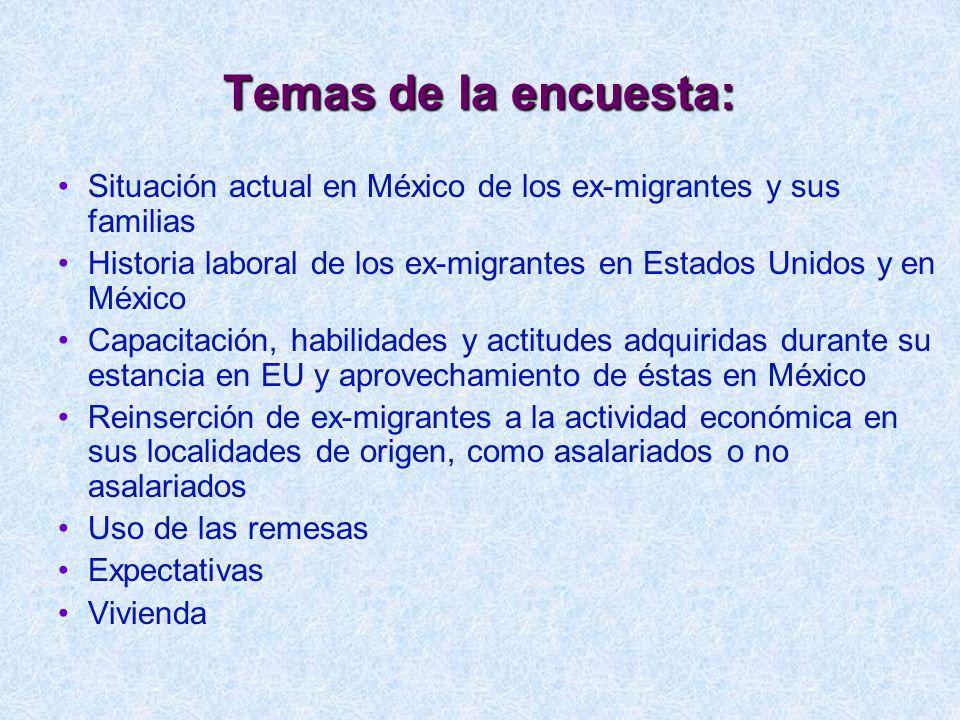 Temas de la encuesta: Situación actual en México de los ex-migrantes y sus familias.