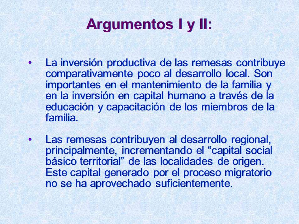 Argumentos I y II: