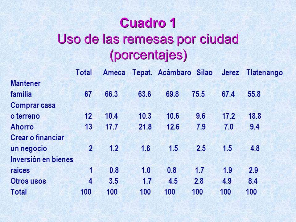 Cuadro 1 Uso de las remesas por ciudad (porcentajes)