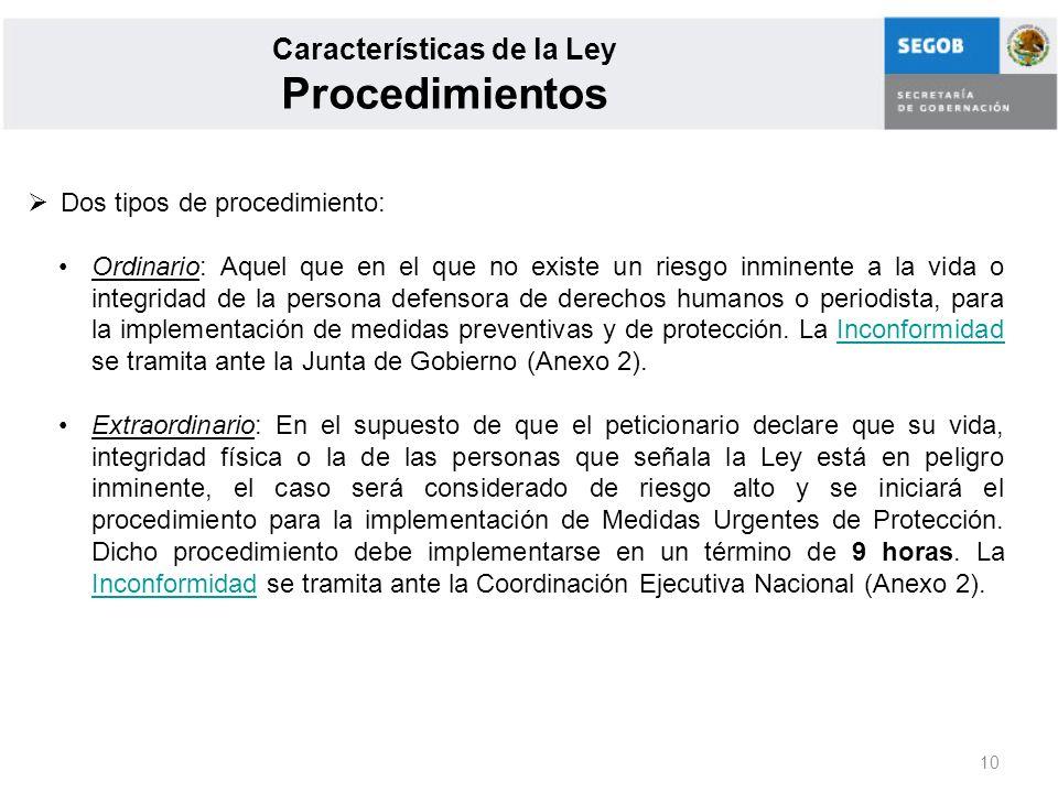 Características de la Ley Procedimientos