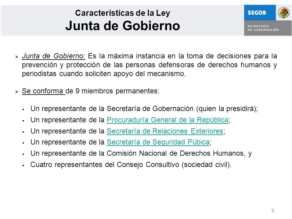 Características de la Ley Junta de Gobierno