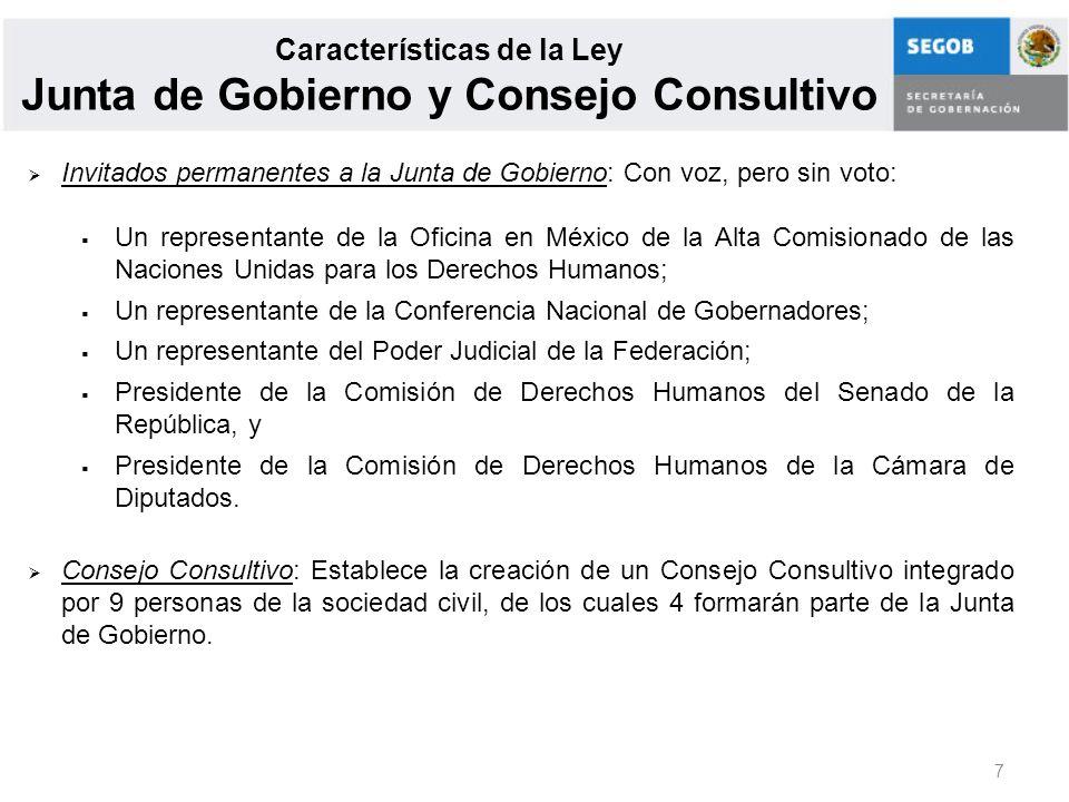 Características de la Ley Junta de Gobierno y Consejo Consultivo