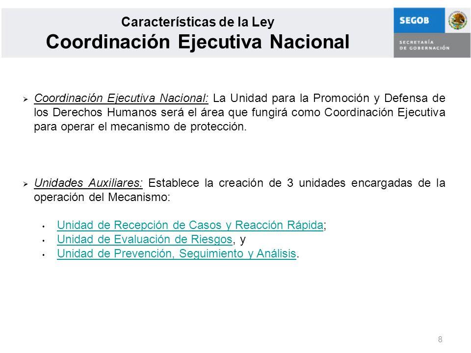 Características de la Ley Coordinación Ejecutiva Nacional