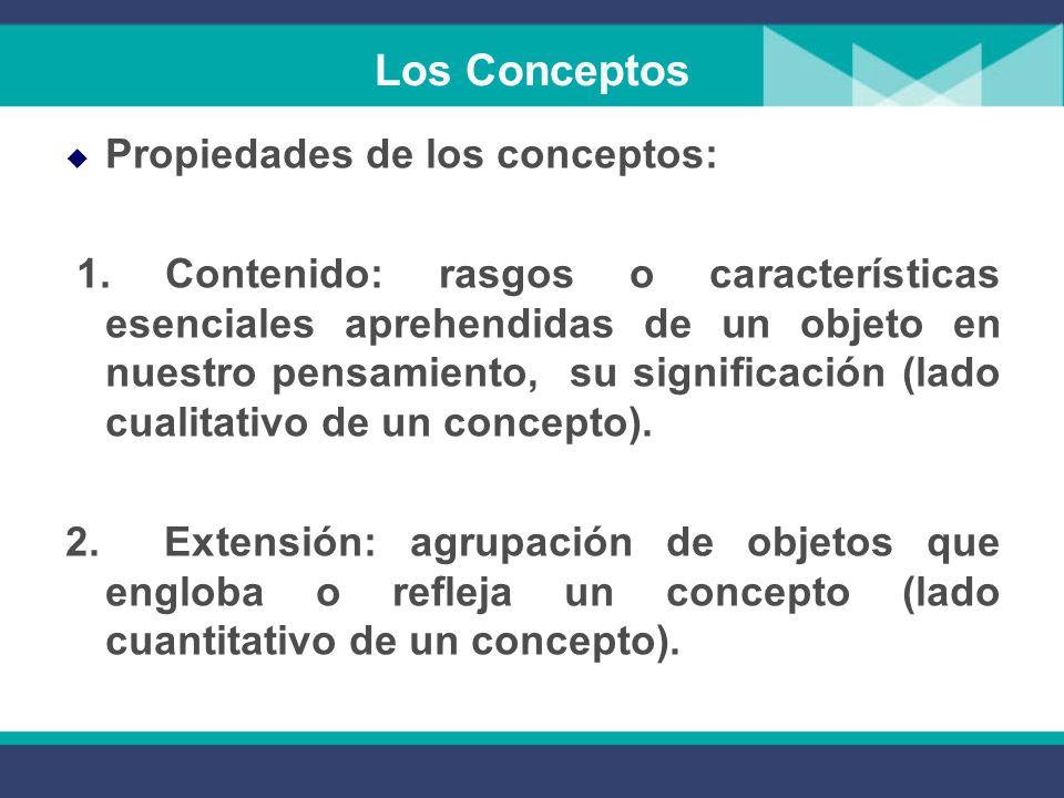 Los Conceptos Propiedades de los conceptos: