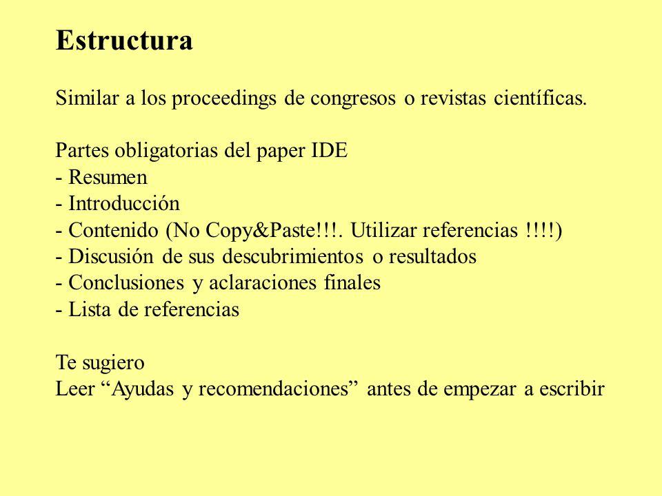 Ejercicio IDE-Paper Programa Tuesday 16 September AM - ppt descargar
