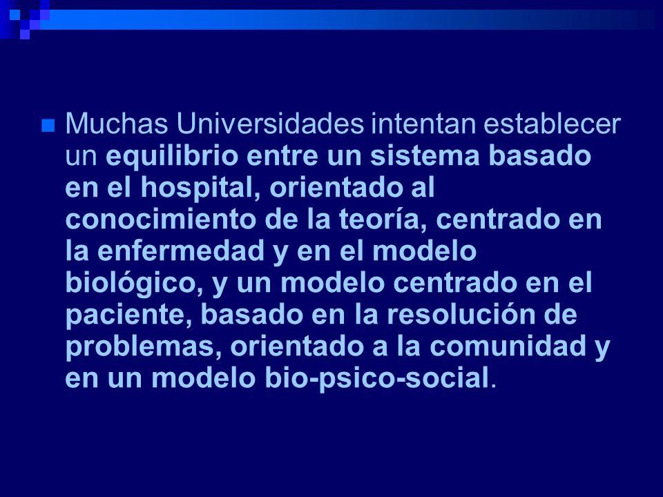 Muchas Universidades intentan establecer un equilibrio entre un sistema basado en el hospital, orientado al conocimiento de la teoría, centrado en la enfermedad y en el modelo biológico, y un modelo centrado en el paciente, basado en la resolución de problemas, orientado a la comunidad y en un modelo bio-psico-social.