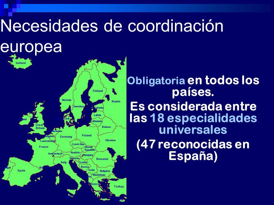 Necesidades de coordinación europea