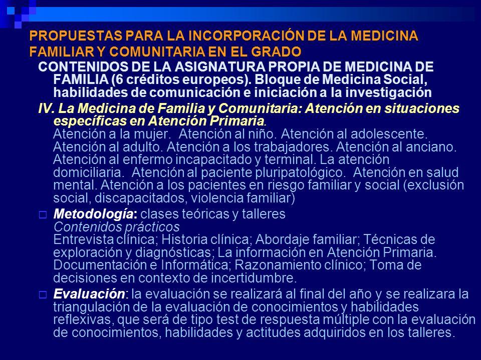 PROPUESTAS PARA LA INCORPORACIÓN DE LA MEDICINA FAMILIAR Y COMUNITARIA EN EL GRADO