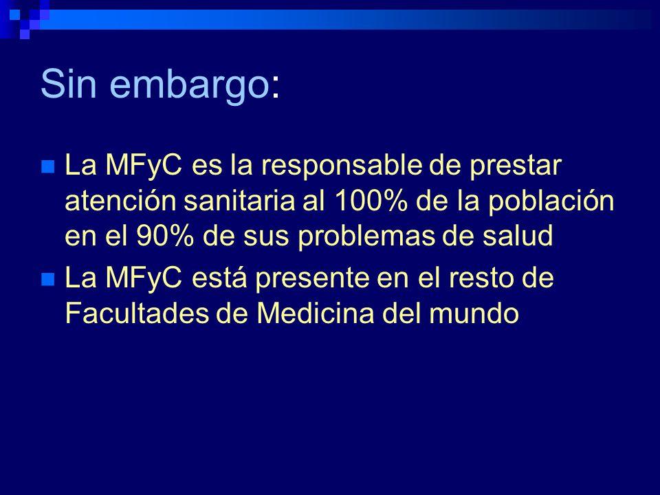 Sin embargo:La MFyC es la responsable de prestar atención sanitaria al 100% de la población en el 90% de sus problemas de salud.