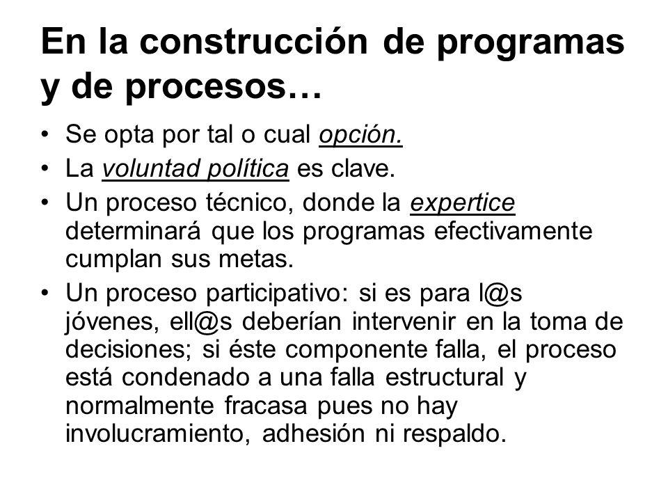En la construcción de programas y de procesos…