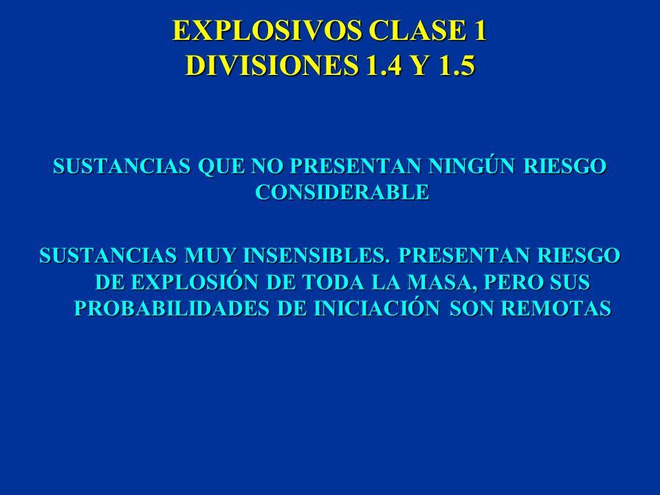 EXPLOSIVOS CLASE 1 DIVISIONES 1.4 Y 1.5
