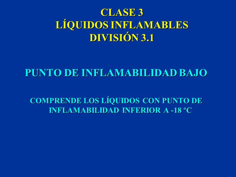 CLASE 3 LÍQUIDOS INFLAMABLES DIVISIÓN 3.1