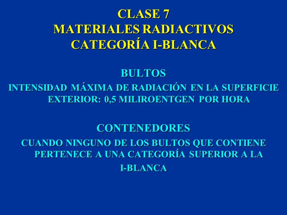 CLASE 7 MATERIALES RADIACTIVOS CATEGORÍA I-BLANCA