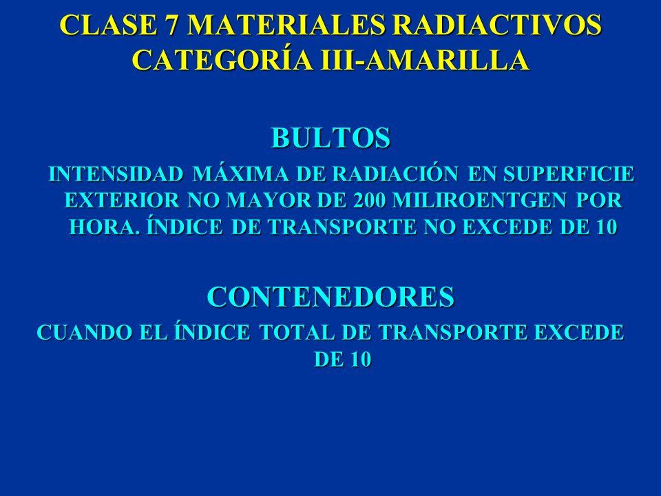 CLASE 7 MATERIALES RADIACTIVOS CATEGORÍA III-AMARILLA