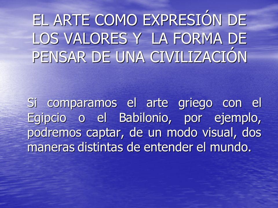 EL ARTE COMO EXPRESIÓN DE LOS VALORES Y LA FORMA DE PENSAR DE UNA CIVILIZACIÓN