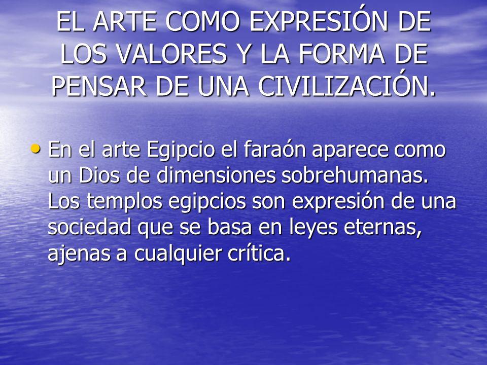 EL ARTE COMO EXPRESIÓN DE LOS VALORES Y LA FORMA DE PENSAR DE UNA CIVILIZACIÓN.